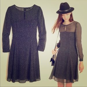 JCrew Chiffon Black & White Dot Dress - Size 2
